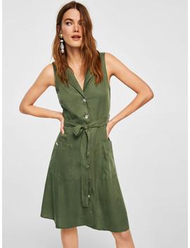 mango-women-olive-green-solid-shirt-dress by mango