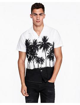 slim-large-palm-tree-print-shirt by express