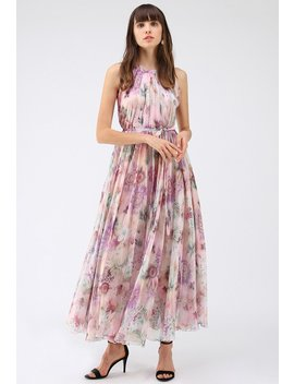 sunflower-blossom-watercolor-chiffon-maxi-slip-dress by chicwish