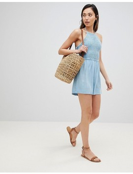 influence-chambray-halter-neck-beach-romper by romper