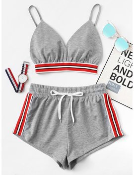 striped-tape-panel-cami-top-with-shorts by romwe