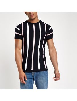 navy-knit-stripe-slim-fit-t-shirt by river-island