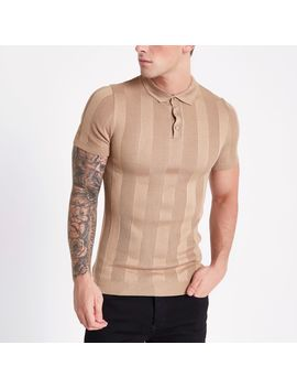 brown-ribbed-muscle-fit-polo-shirt by river-island