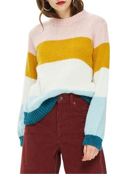 colorblock-knit-pullover by topshop