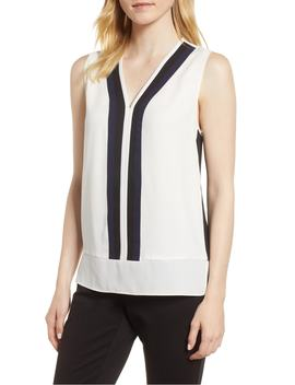 colorblock-sleeveless-blouse by vince-camuto