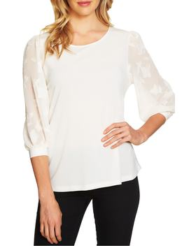 lace-sleeve-stretch-crepe-blouse by cece