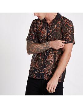 black-chain-print-sheer-revere-shirt by river-island