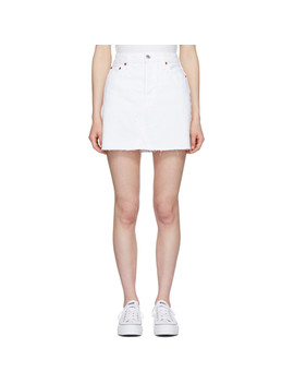 white-high-waisted-denim-miniskirt by re_done