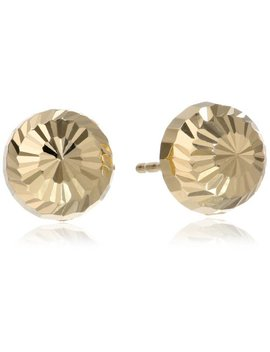 14k-yellow-gold-8mm-fancy-diamond-cut-domed-stud-earrings by amazon-collection
