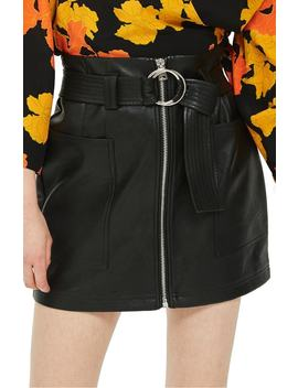 front-zip-faux-leather-miniskirt by topshop
