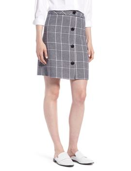 button-front-plaid-skirt by 1901