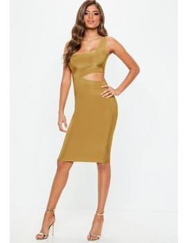 gold-slinky-cut-out-mini-dress by missguided