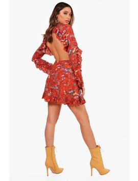 ruffle-open-back-tea-dress by boohoo