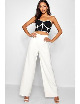 tall-high-waisted-woven-wide-leg-trousers by boohoo