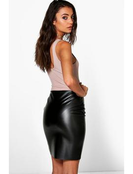 tall-leather-look-mini-skirt by boohoo