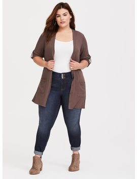 taupe-longline-ribbed-cardigan by torrid