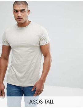 asos-tall-t-shirt-with-crew-neck-in-beige by asos