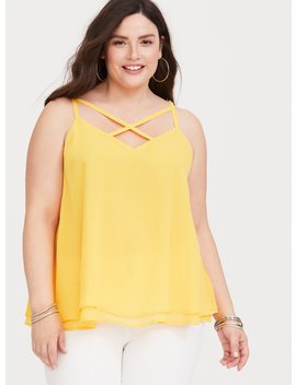 sophie---yellow-double-layer-chiffon-swing-cami by torrid