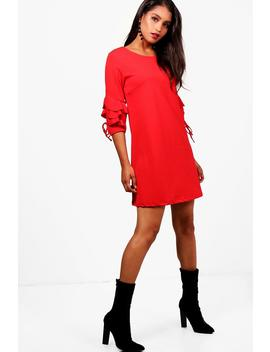 frill-tie-sleeve-shift-dress by boohoo