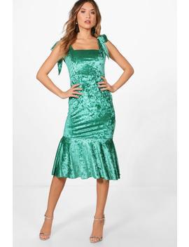 velvet-tie-straps-fishtail-midi-dress by boohoo