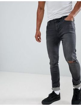 jack-&-jones-–-skinny-jeans-in-dunkelgrau-mit-zierrissen-an-den-knien by jack-&-jones