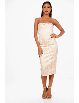 bandeau-foil-print-midi-dress by boohoo