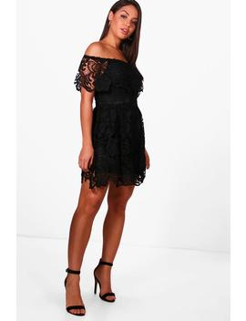 boutique-lace-skater-dress by boohoo