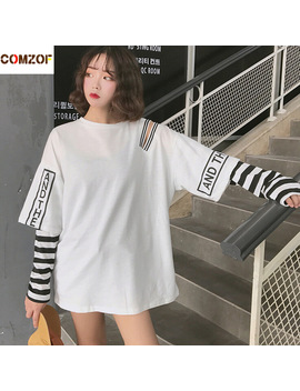 women-korean-fashion-oversized-long-sleeve-t-shirt-hip-hop-punk-streetwear-girls-fake-two-pieces-tees-off-shoulder-tops by comzof