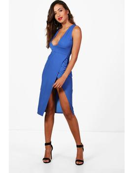 plunge-neck-super-high-split-midi-dress by boohoo