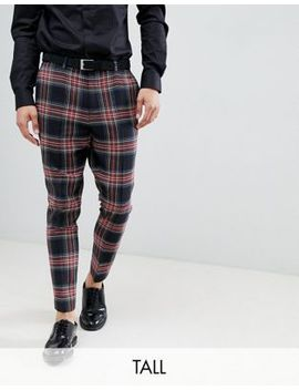noose-&-monkey-tall-tapered-cropped-check-trouser by noose-&-monkey