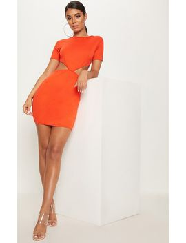 bright-orange-short-sleeve-v-cut-out-bodycon-dress by prettylittlething