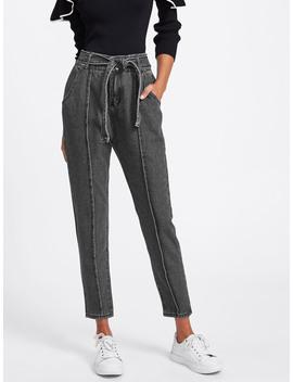 seam-detail-self-tie-jeans by romwe