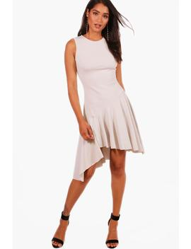 asymmetric-hem-skater-dress by boohoo