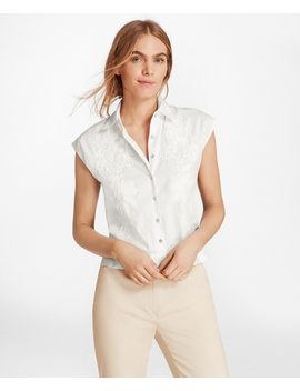 Floral Embroidered Stretch Cotton Cropped Shirt by Brooks Brothers