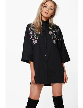 embroidered-wide-sleeve-shirt-dress by boohoo