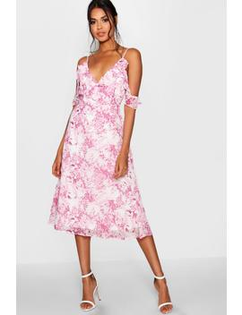 chiffon-printed-midi-skater-dress by boohoo