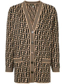 zucca-pattern-cardigan by fendi-vintage