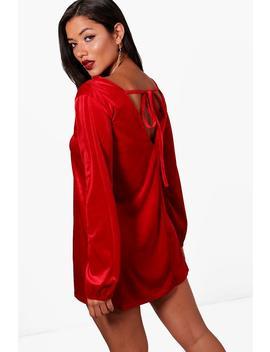 velvet-blouson-sleeve-shift-dress by boohoo
