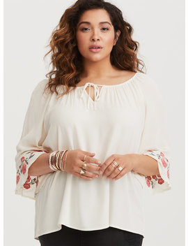 ivory-floral-embroidered-gauze-peasant-blouse by torrid