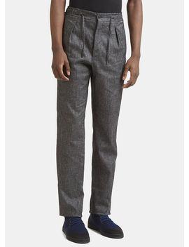 Logo Stripe Pants In Black by Fendi
