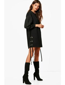 eyelet-mixed-fabric-shift-dress by boohoo