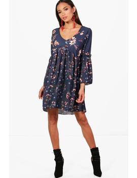 mixed-print-floral-ruffle-smock-dress by boohoo