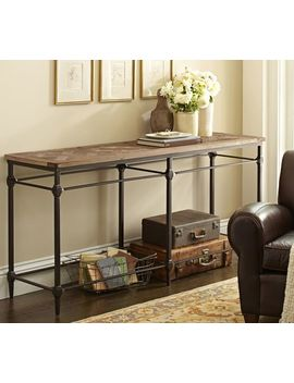 parquet-reclaimed-wood-console-table by pottery-barn