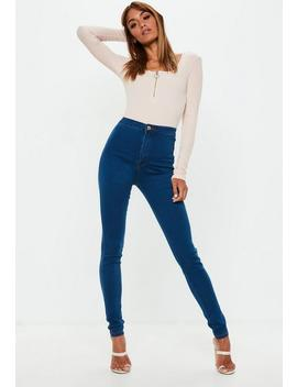 tall-blue-vice-superstretch-mid-wash-skinny-jeans by missguided