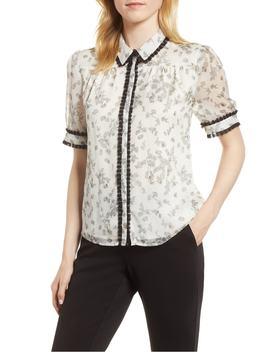 floral-print-ruffle-trim-shirt by cece