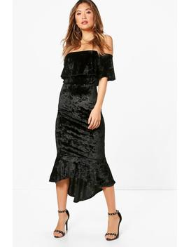 crushed-velvet-off-the-shoulder-midress by boohoo