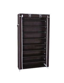 songmics-10-tiers-shoe-rack-with-dustproof-cover-closet-shoe-storage-cabinet-organizer-dark-brown-urxj36z by songmics