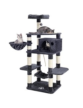 "songmics-69""-multi-level-cat-tree-with-feeder-bowl,-sisal-covered-scratching-posts,-hammock,-basket-and-condo,-activity-centre---for-kittens,-cats-and-pets---large by songmics"
