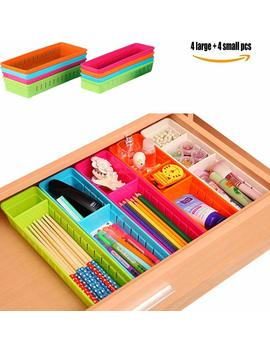 tinton-life-set-of-8-colorful-creative-plastic-drawers-organizers-with-adjustable-dividers-cabinet-storage-box-holder-for-stationery-makeup-cutlery-(8pcs-mixed-colors) by tinton-life