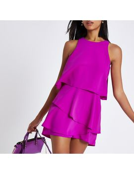 purple-tiered-frill-sleeveless-playsuit by river-island